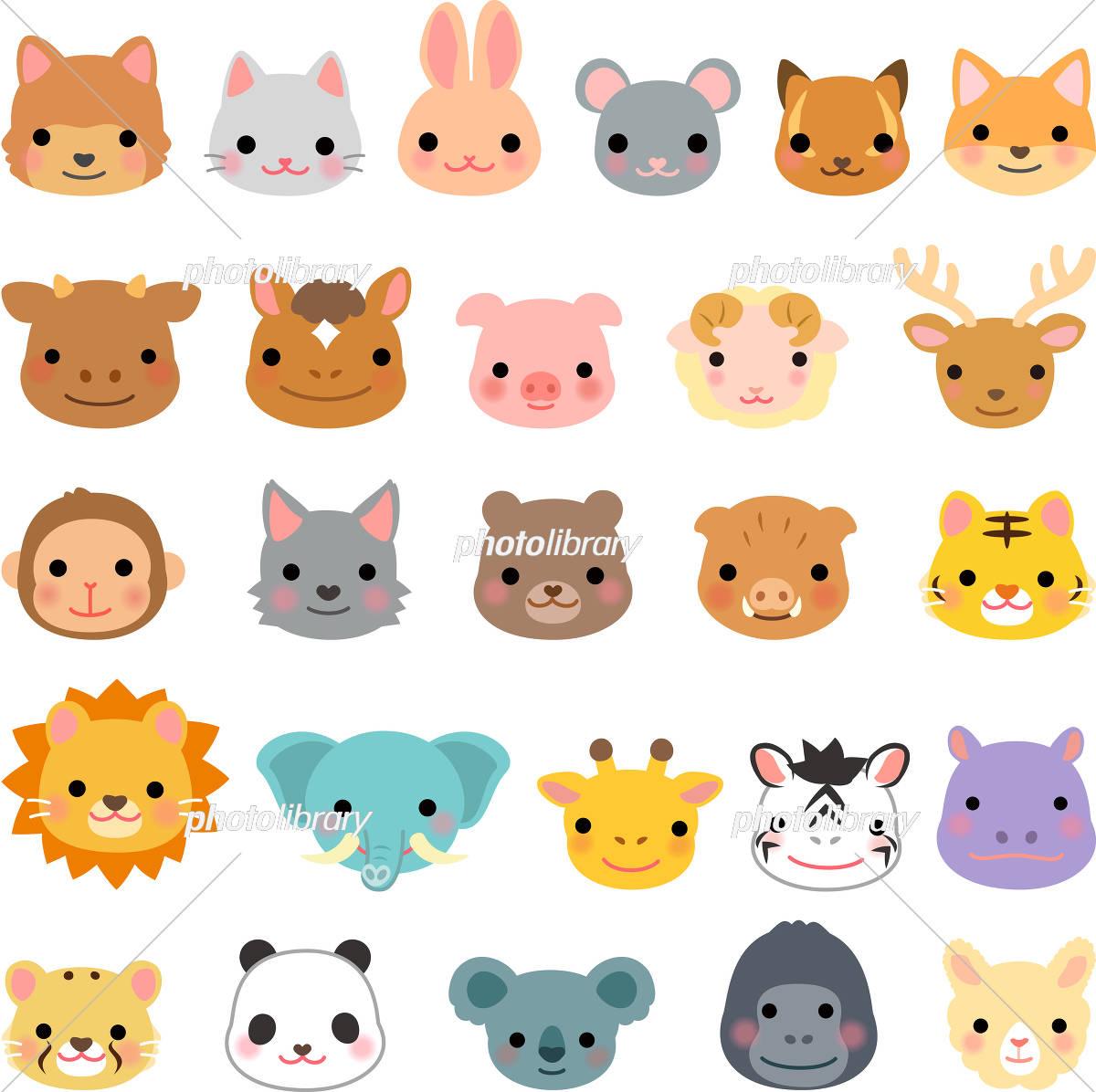 動物の顔のイラストセット イラスト素材 4610179 フォト
