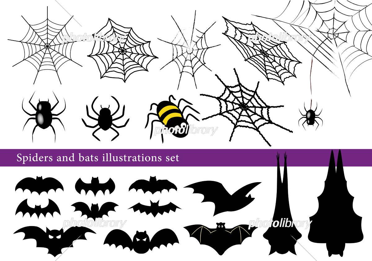 ハロウィン蜘蛛とコウモリ イラストセット イラスト素材 4610637