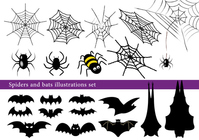 Halloween spider and bat illustrations set [4610637] Halloween