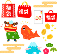 Lucky bag, New Year Sale of illustrations set [4736466] Lucky