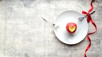 Apple peeled to the heart-shaped with the Shirosara and two fork Stock photo [4817226] apple