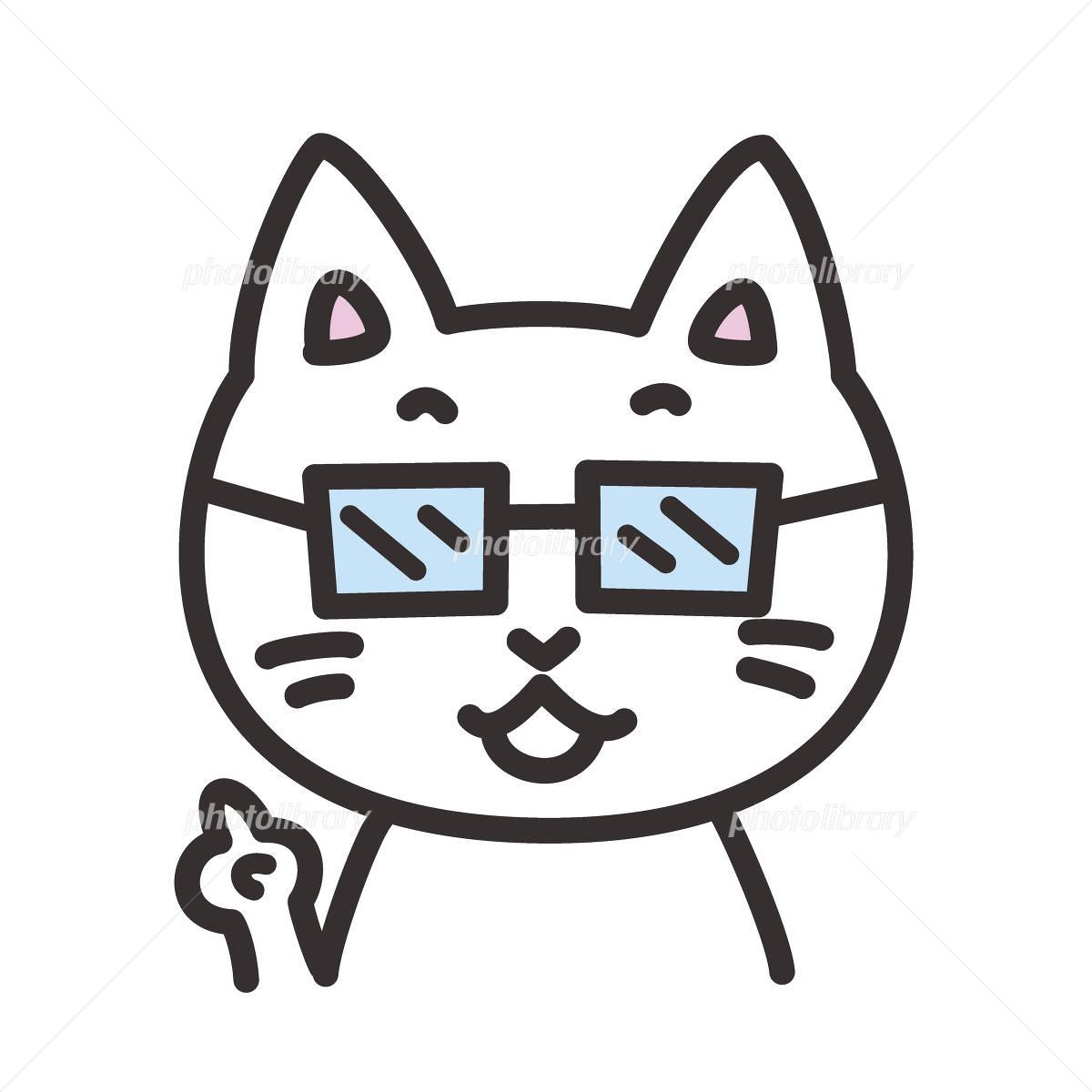 猫のキャラクター 表情 眼鏡で説明 イラスト素材 4923604 フォト