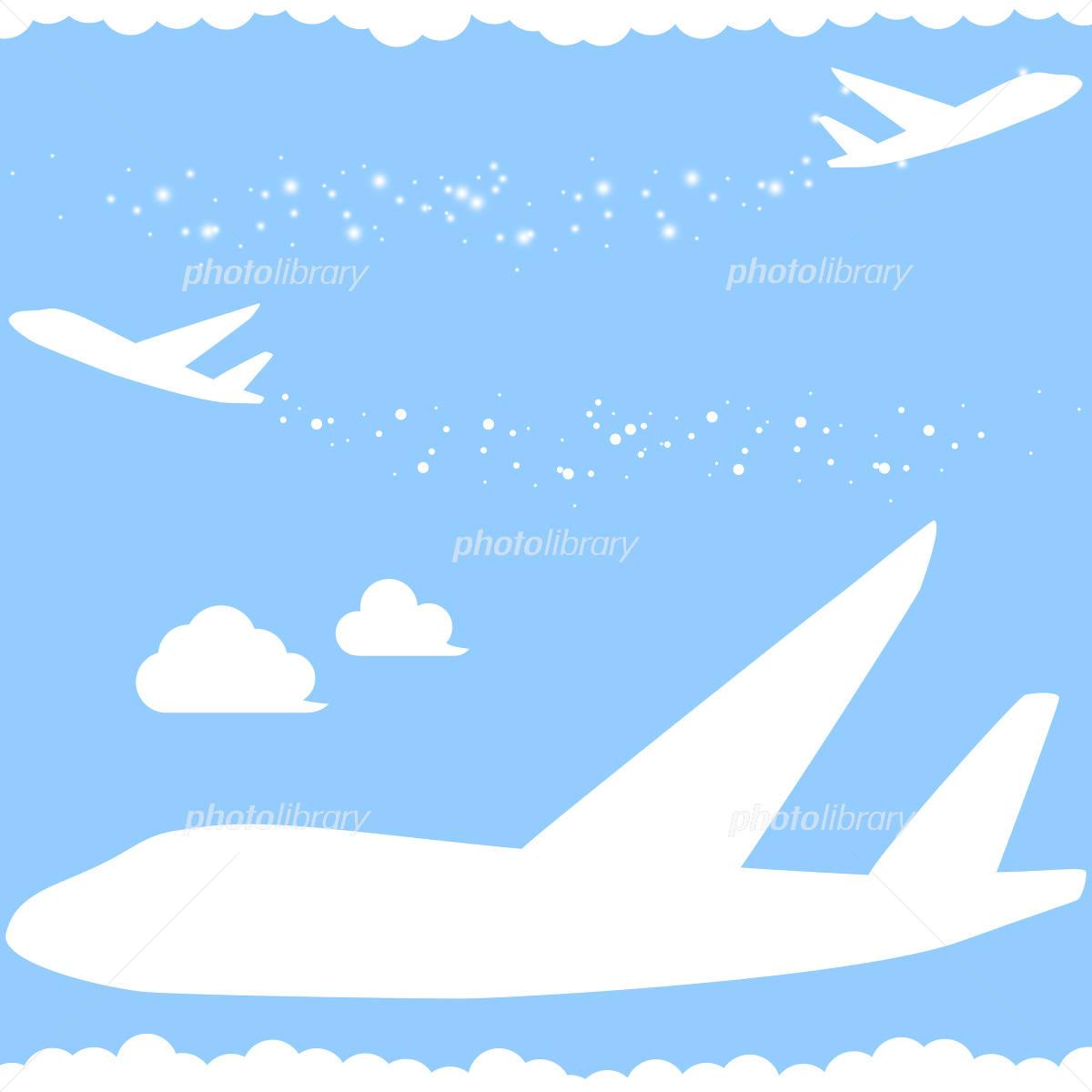 キラキラ飛行機雲 シルエット イラスト素材 4927653 フォトライブ