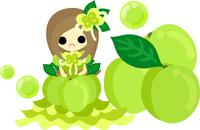 Fashionable girl wearing a fruit of dress [5026483] An