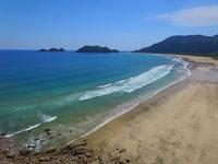 Aerial of Nichinan coast of stone wave beach Stock photo [5028832] Stone