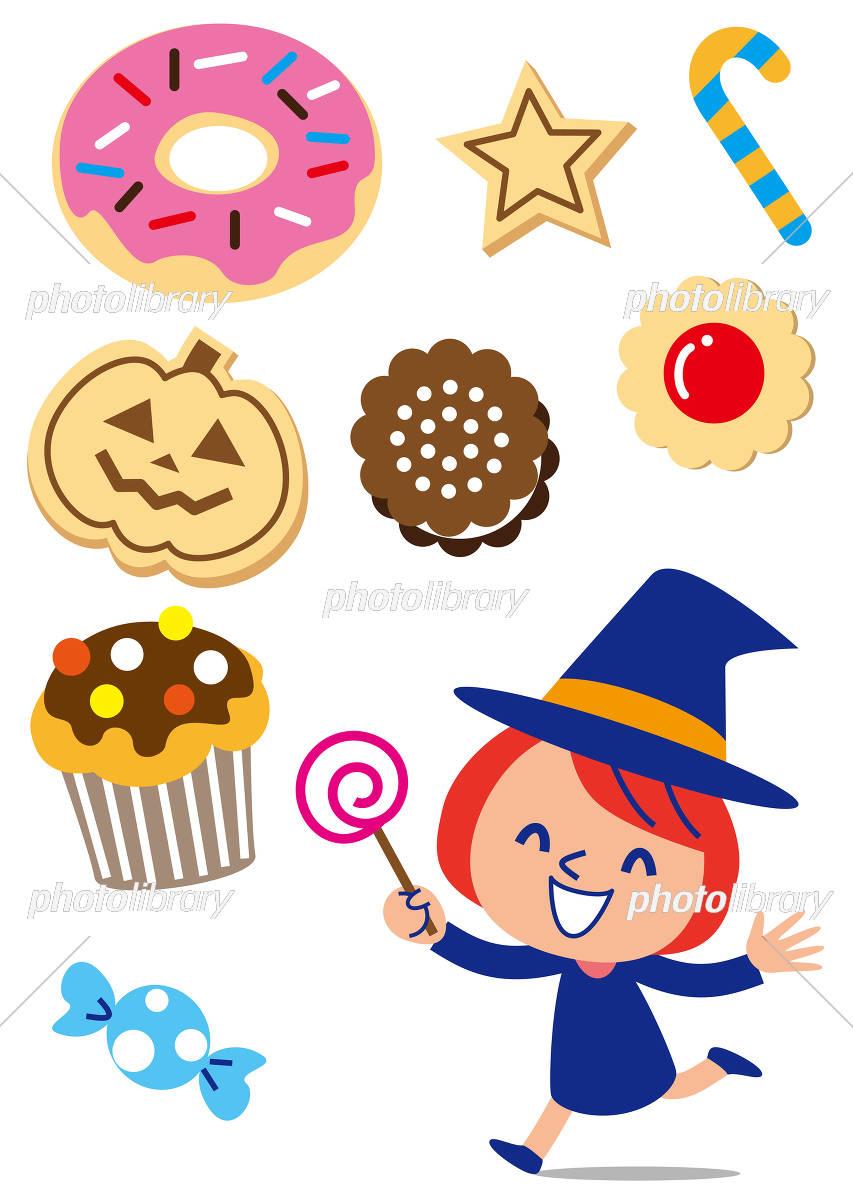 ハロウィン お菓子と女の子 イラスト素材 5122871 フォトライブ