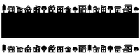 Deformed house and tree row (black silhouette)  Illust