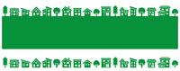 イラスト Deformed house and tree row (green silhouette)(5115552)