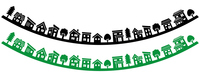 Deformed house and tree row (Silhouette reverse arched version)  Illust