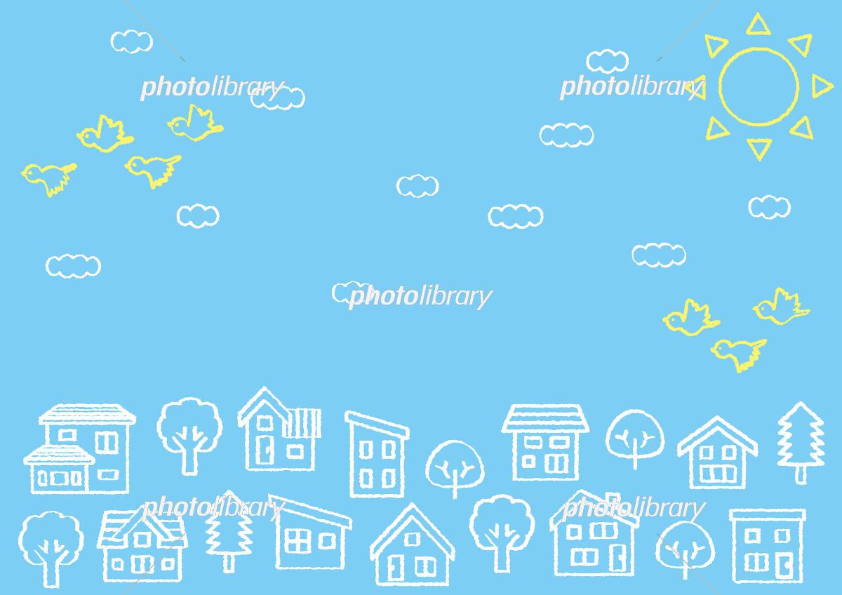 デフォルメした家と木の並び(空と雲と鳥)手書き風線画 イラスト素材