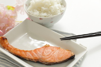 Rice and grilled salmon  Photo