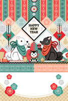 New Year's cards white dogs black dogs coffin dog Japanese style design HAPPYNEWYEAR [5204294] New