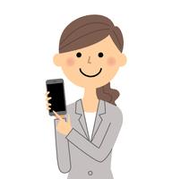Suit female smartphone  Illust