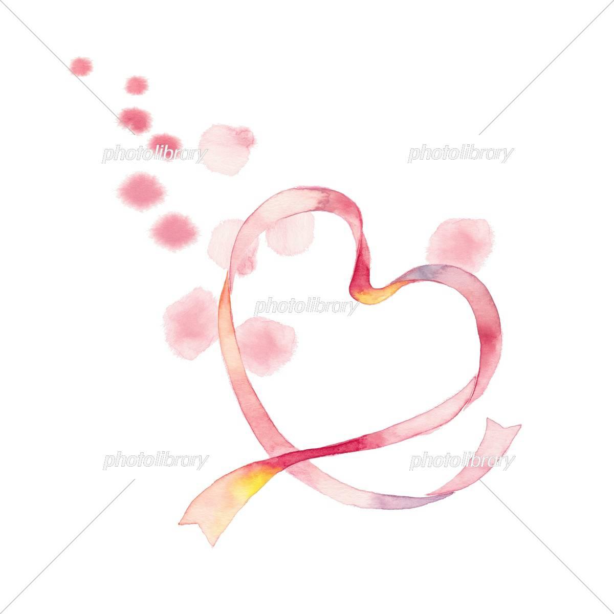 ハートリボン ピンク 水玉 イラスト素材 [ 5305694 ] - フォトライブ
