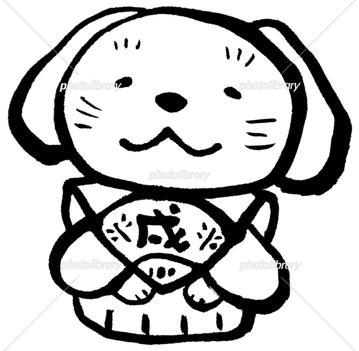 戌 裃 郷土玩具 モノクロ イラスト素材 [ 5310056 ] - フォトライブ