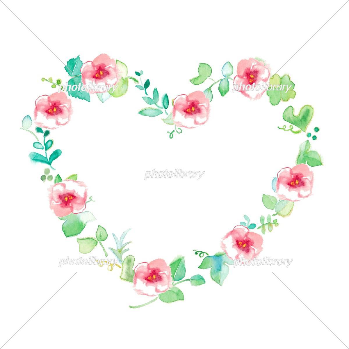 花のフレーム グリーン ハート イラスト素材 [ 5310211 ] - フォトライブ