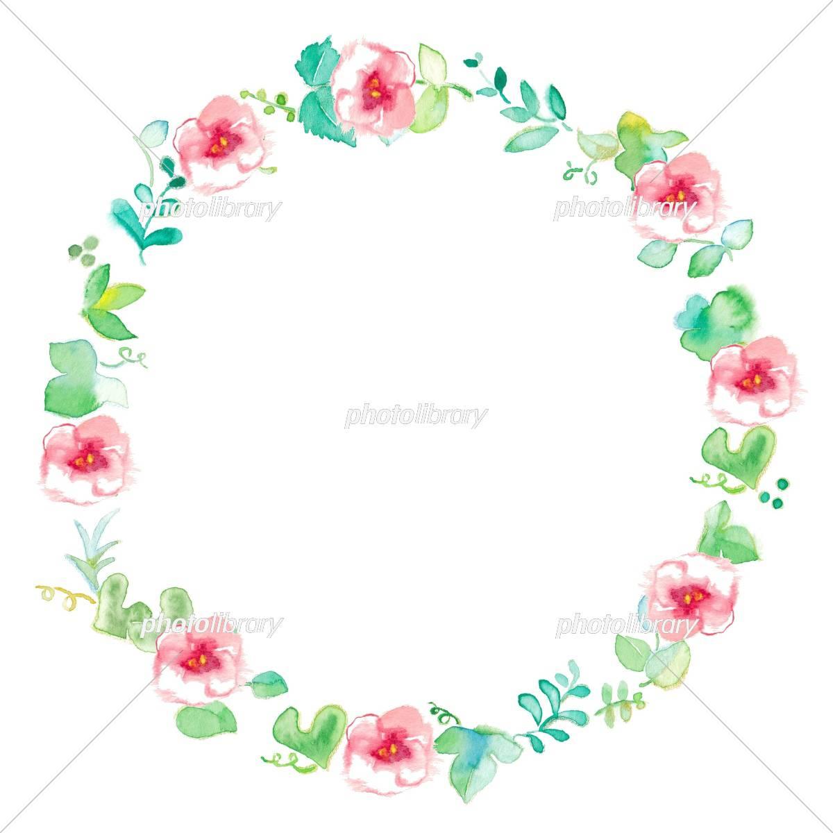 花のフレーム グリーン サークル イラスト素材 [ 5310212 ] - フォト