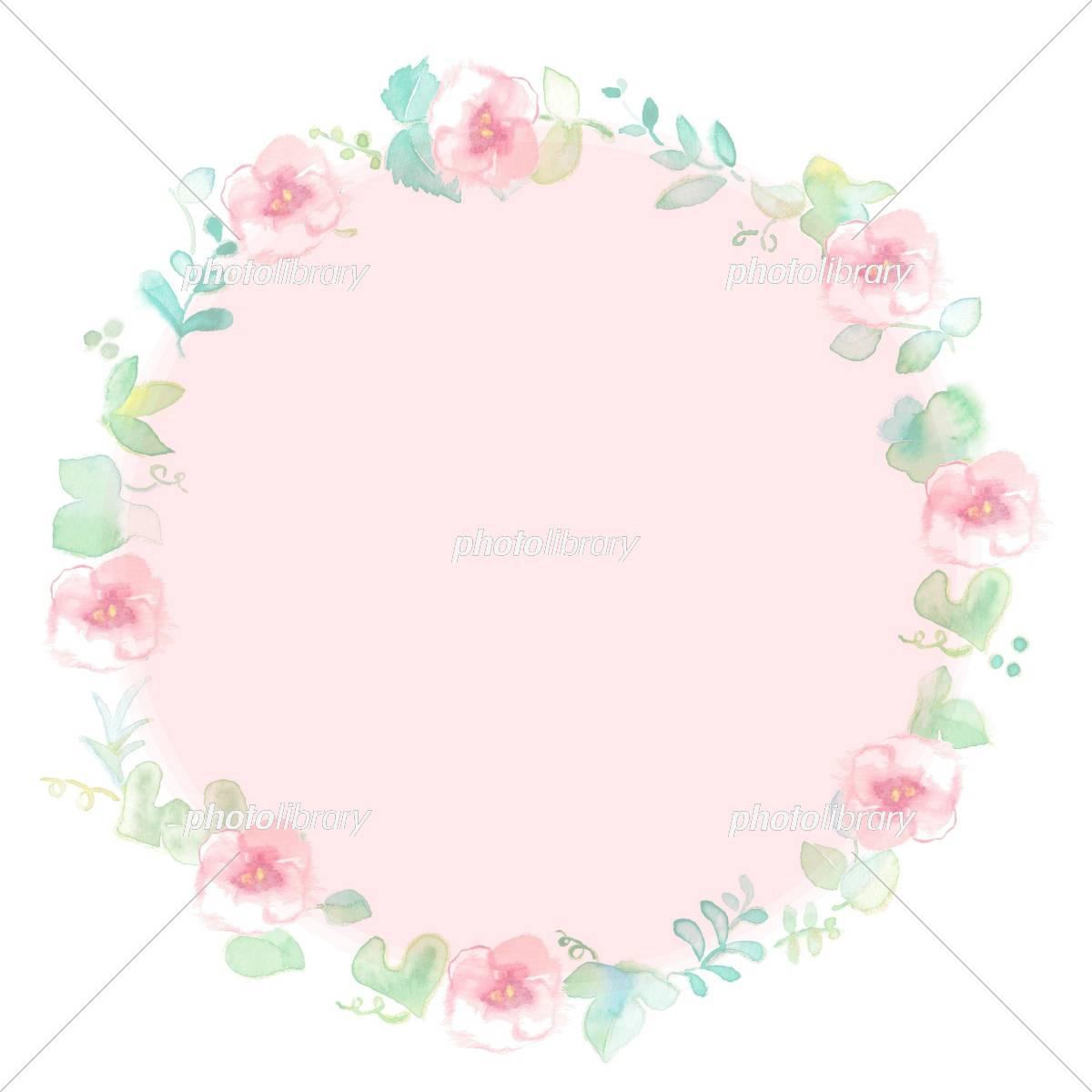 花のフレーム グリーン 淡いピンク サークル イラスト素材 [ 5310213