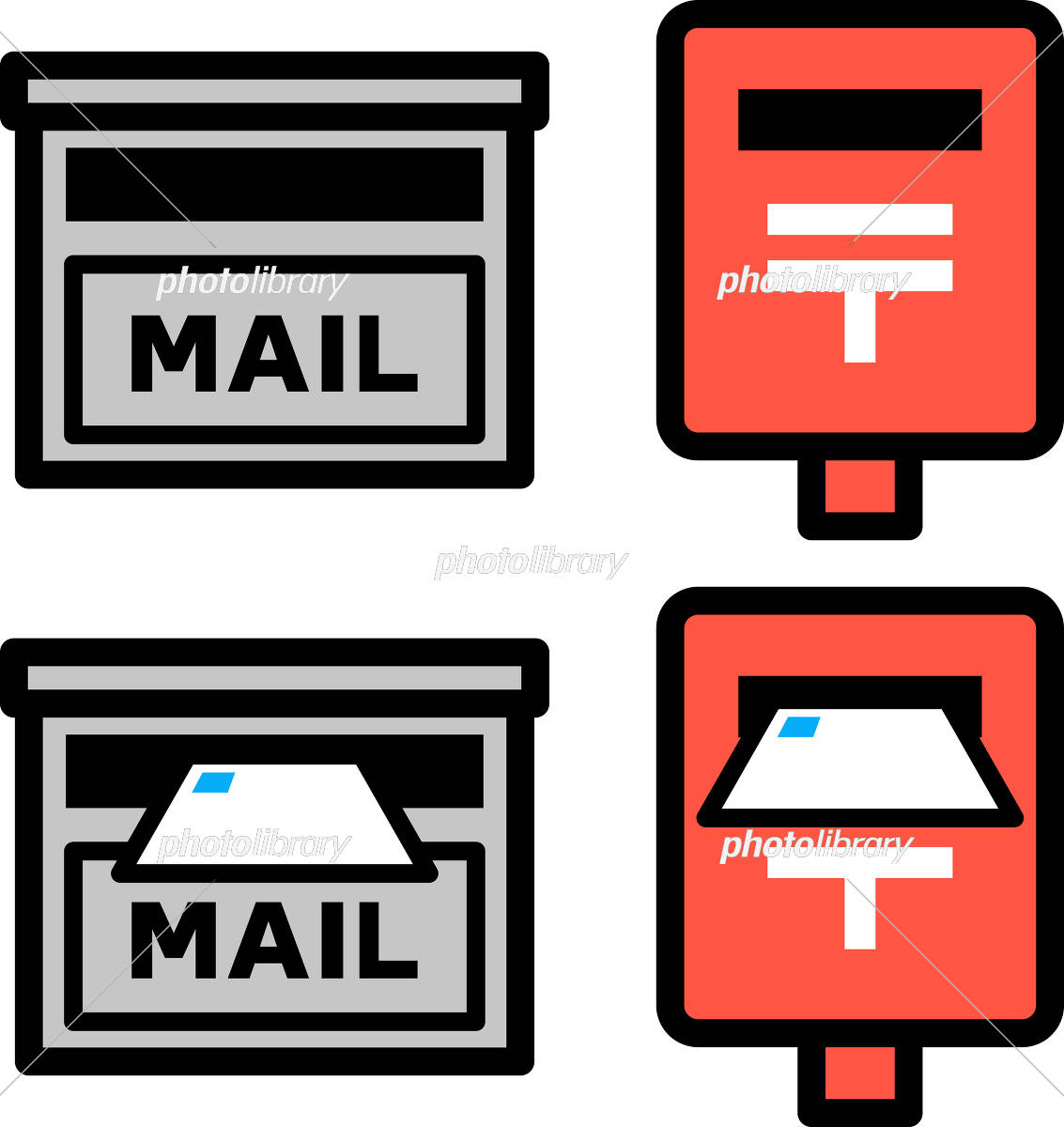 郵便受けと郵便ポストのアイコン イラスト素材 5310241