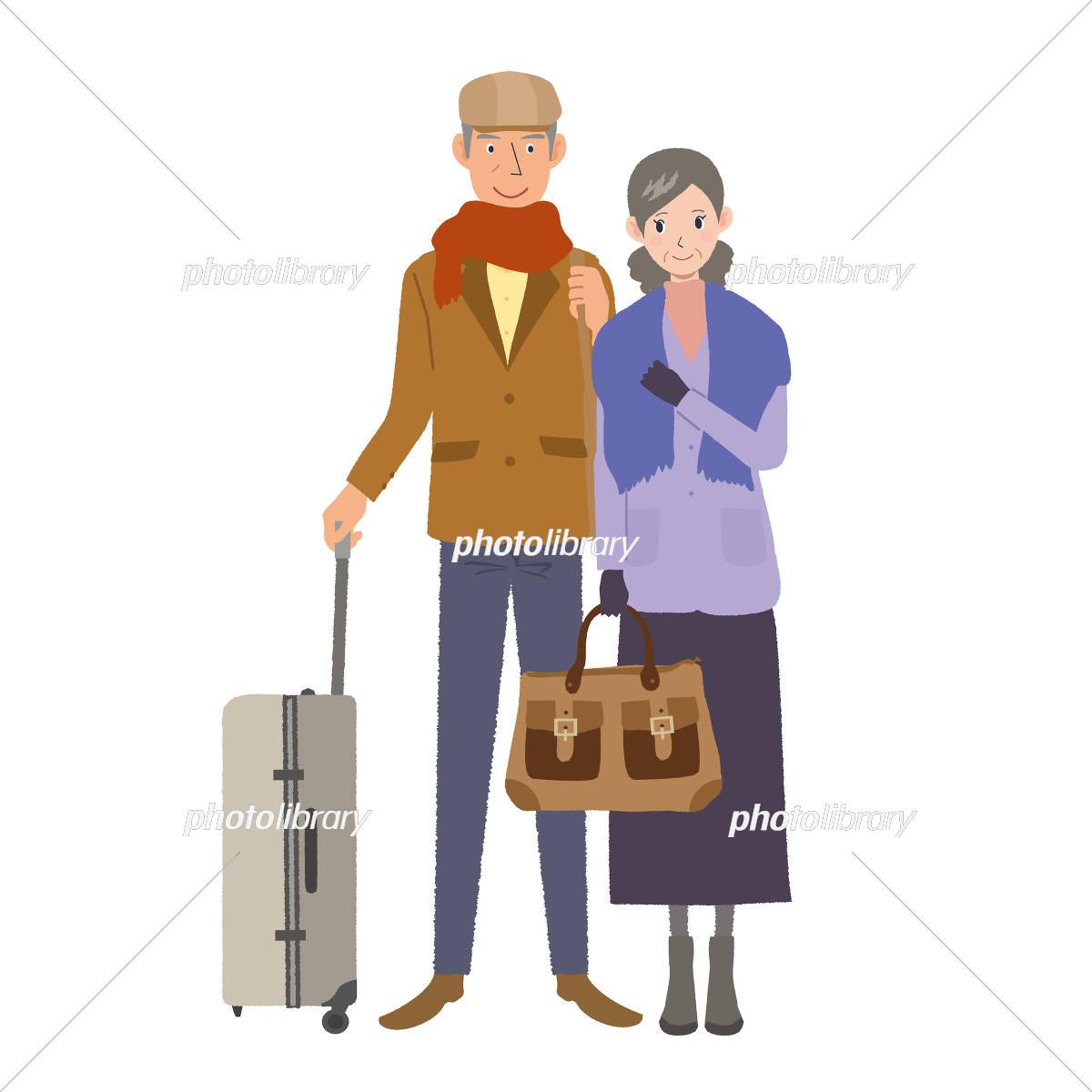 旅行 シニア 夫婦 イラスト イラスト素材 [ 5310696 ] - フォトライブ