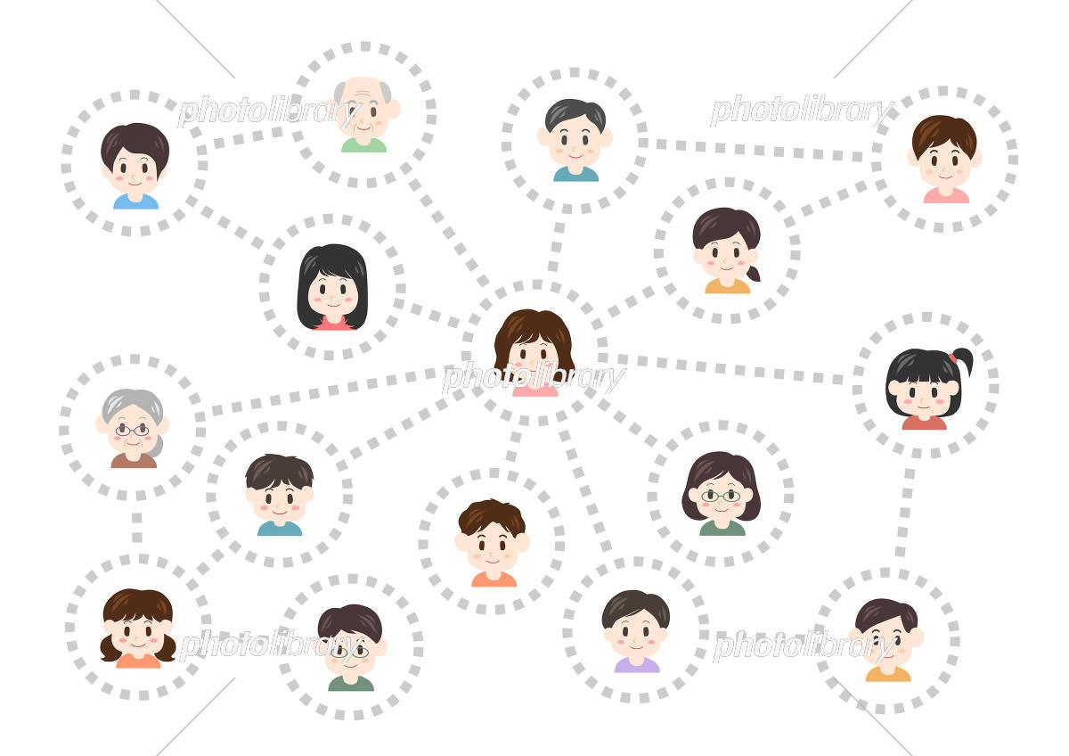 人間関係 ネットワーク イラスト(女性中心) イラスト素材 [ 5313169