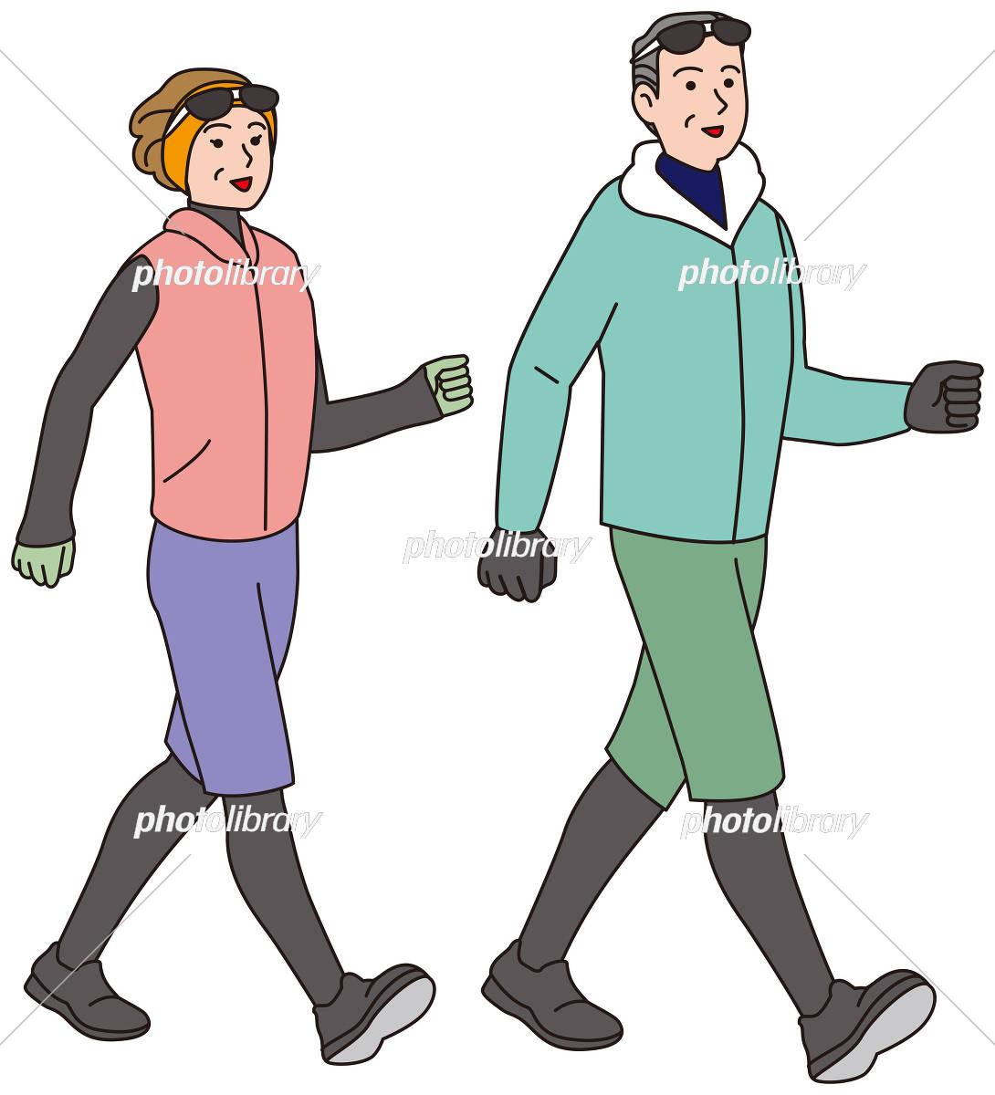 冬の服装でにウオーキングする中年夫婦 イラスト素材 [ 5391069