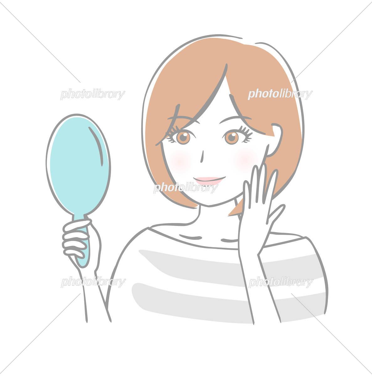 鏡を見る女性 笑顔 イラスト素材 [ 5393331 ] - フォトライブラリー