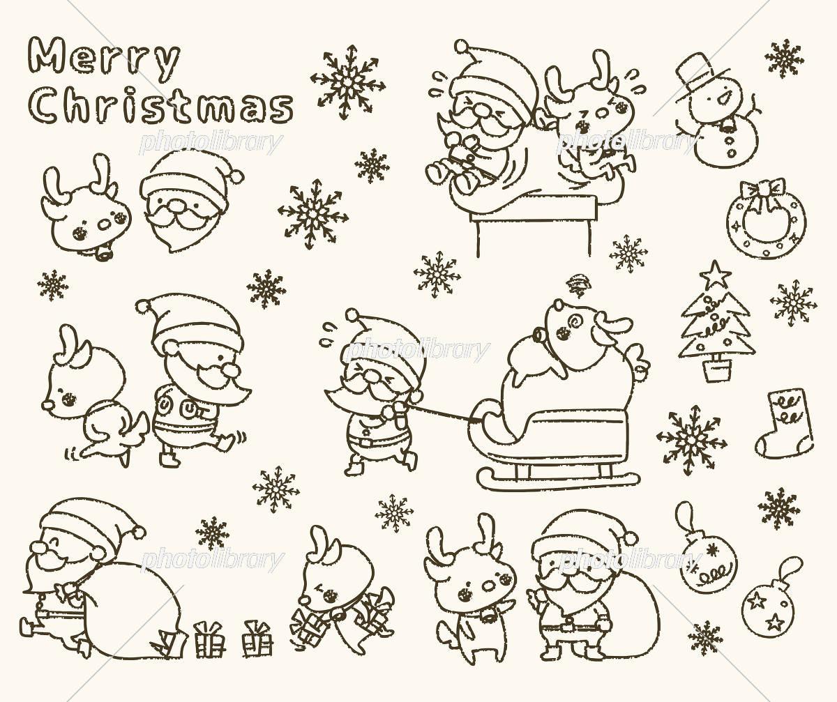 クリスマス 手書き風 セット(線画) イラスト素材 [ 5783005