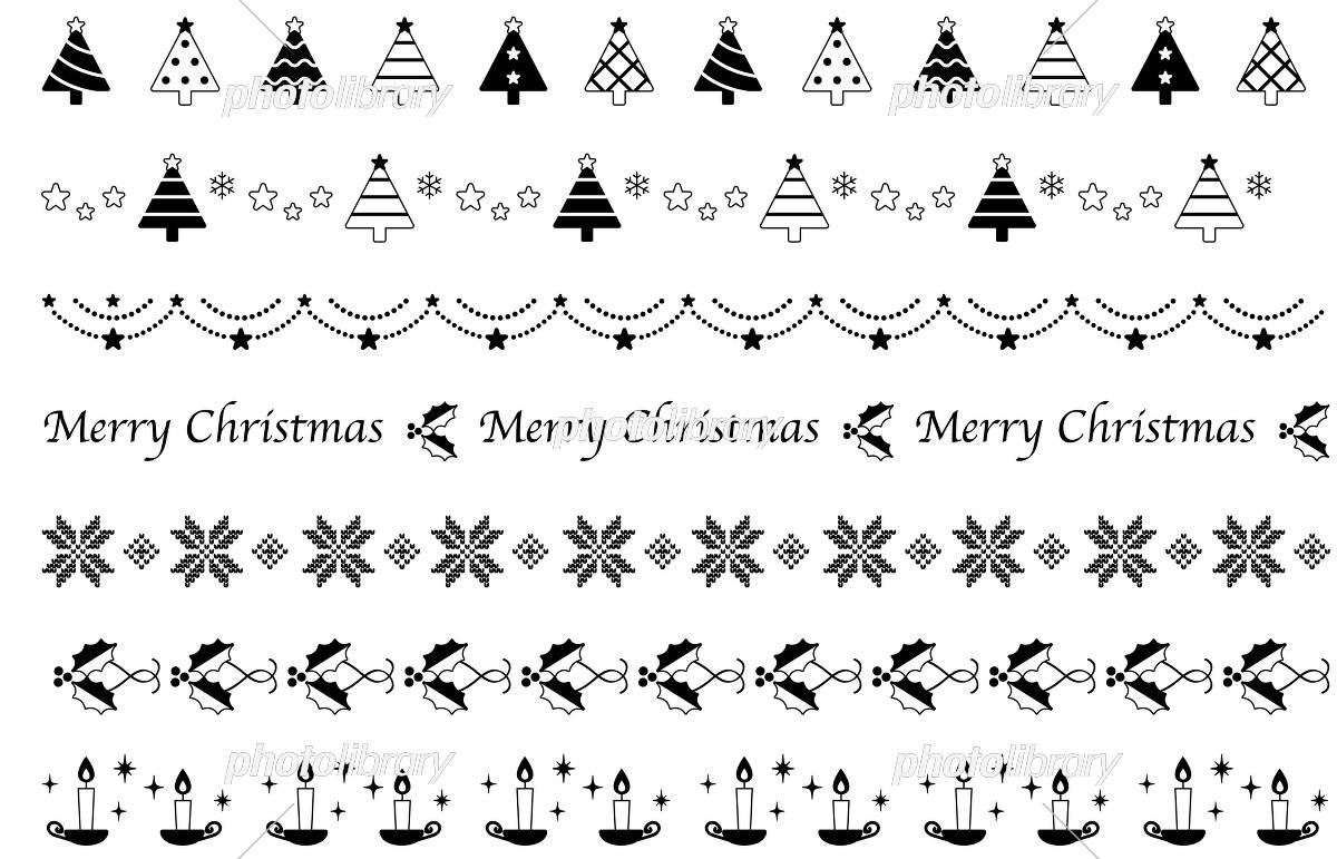 クリスマスの飾り線 シンプルモダン 白黒 イラスト素材 5783858