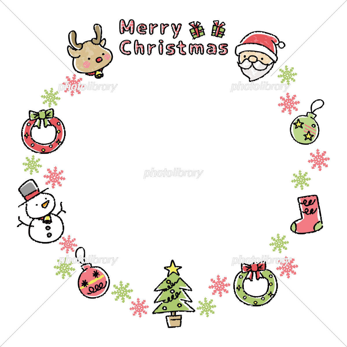 クリスマスカード 手描き イラスト素材 フォトライブラリー Photolibrary