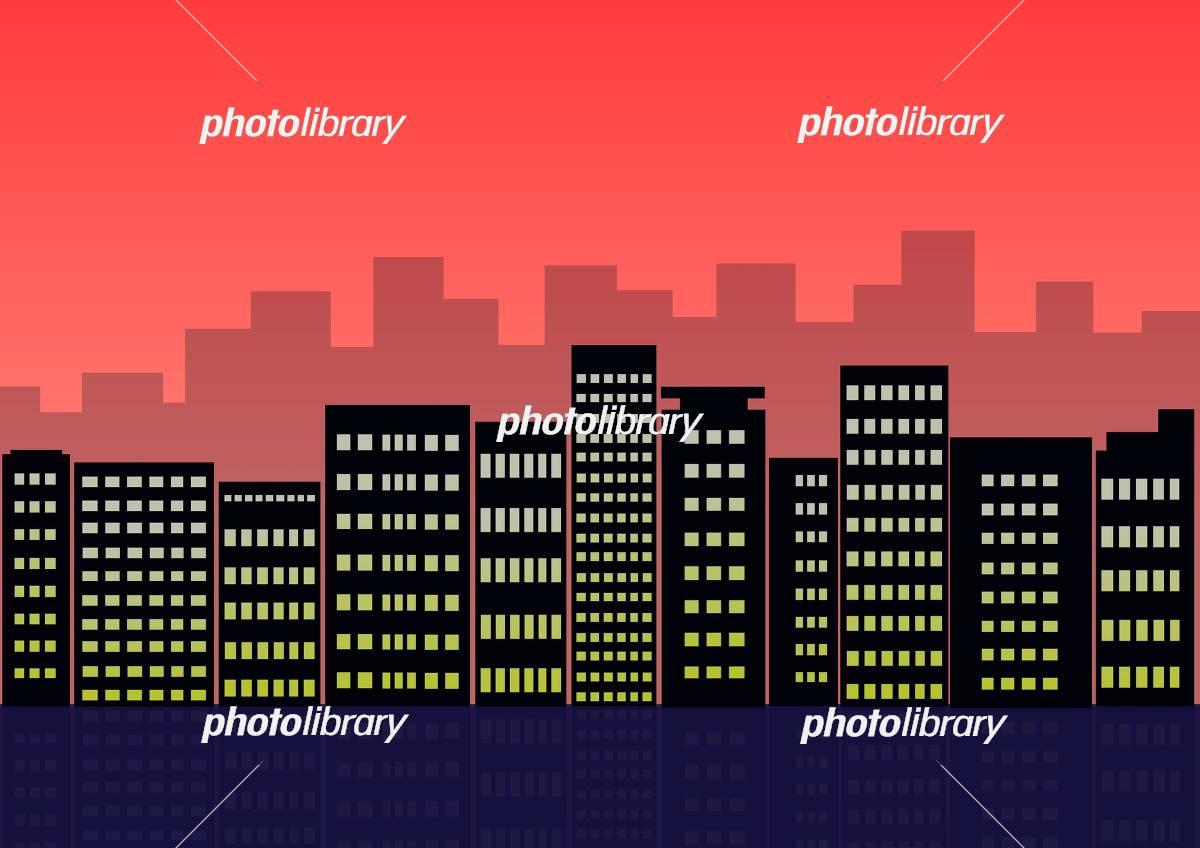 ビル街 グラデーション シルエット ビル 風景 イラスト素材