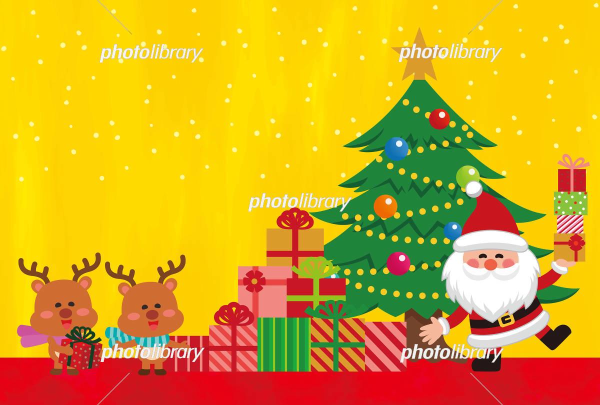 クリスマス素材 クリスマスカード プレゼントを持ったサンタクロース イラスト素材 フォトライブラリー Photolibrary