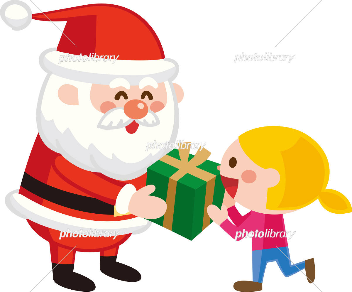 クリスマスプレゼントを子供に渡すサンタクロース イラスト素材 イラスト素材 フォトライブラリー Photolibrary