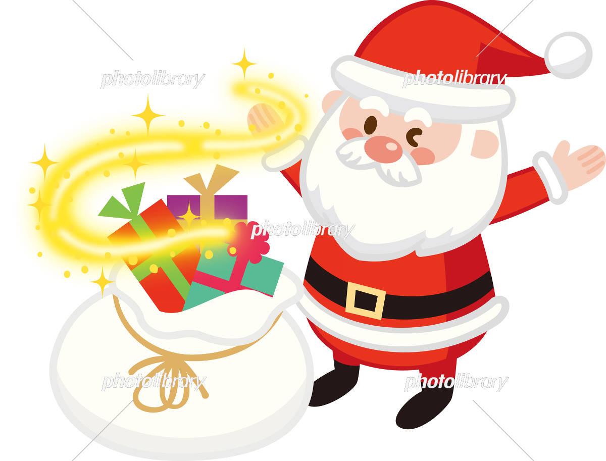 キラキラ光るサンタバッグとウィンクするサンタクロース クリスマス