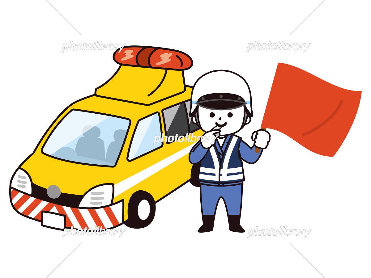 道路パトロールカーと男性交通管理隊員 イラスト素材 5875741