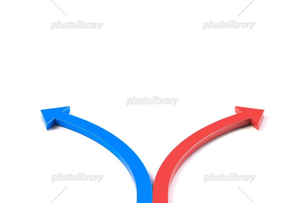 2つの方向に分かれる矢印 イラスト素材 [ 5966732 ] - フォトライブ ...