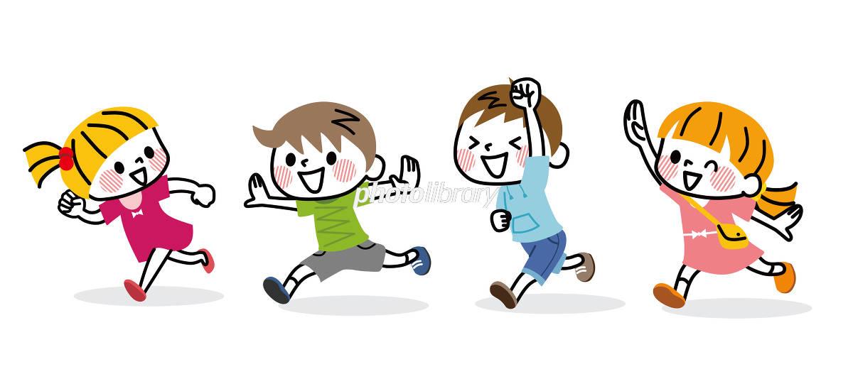 走る子供たち イラスト素材 5971506 フォトライブラリー Photolibrary