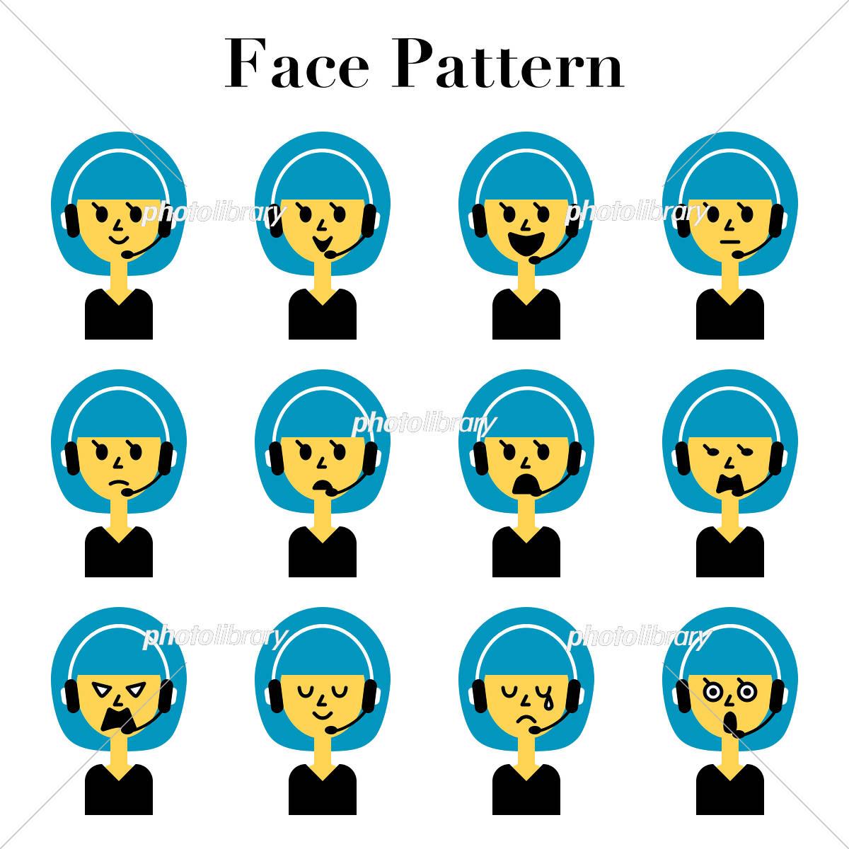 ボブカットの女性コールセンタースタッフのシンプルでかわいい顔の表情12