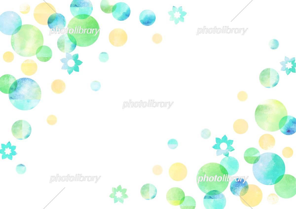 水玉 グリーン 水彩背景 イラスト素材 フォトライブラリー Photolibrary