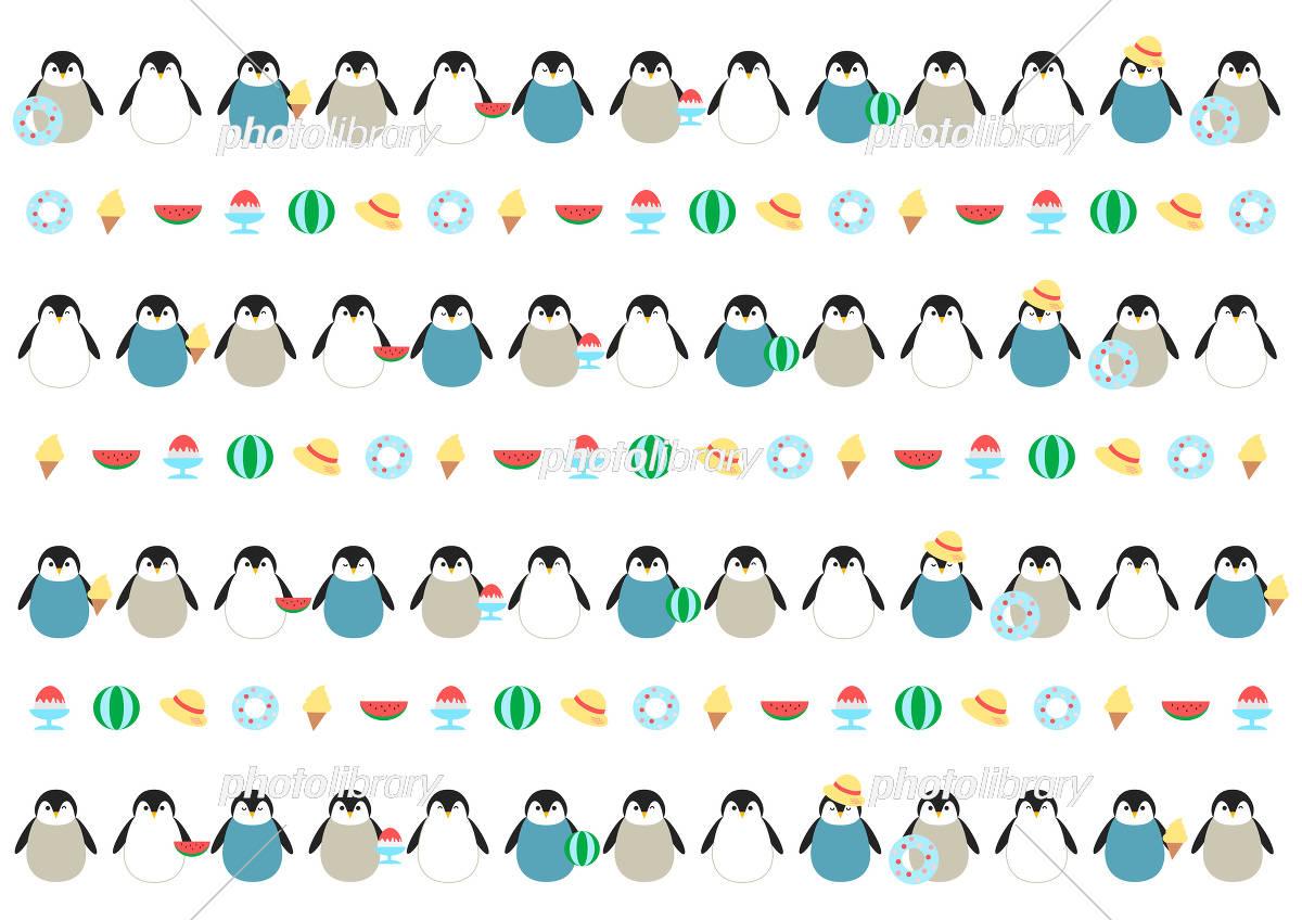 夏 ペンギン イラスト 背景模様 イラスト素材 6034472 フォト