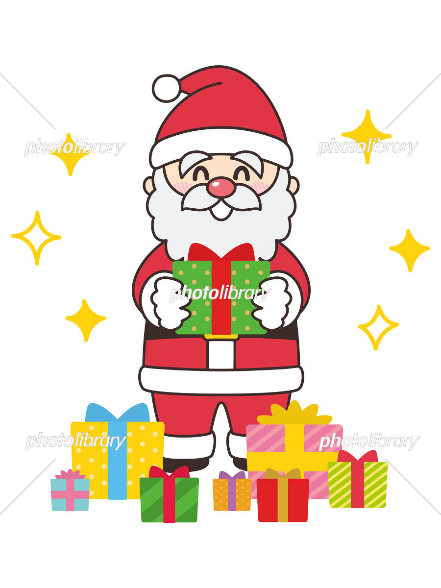 サンタクロースとプレゼントボックス クリスマス イラスト素材