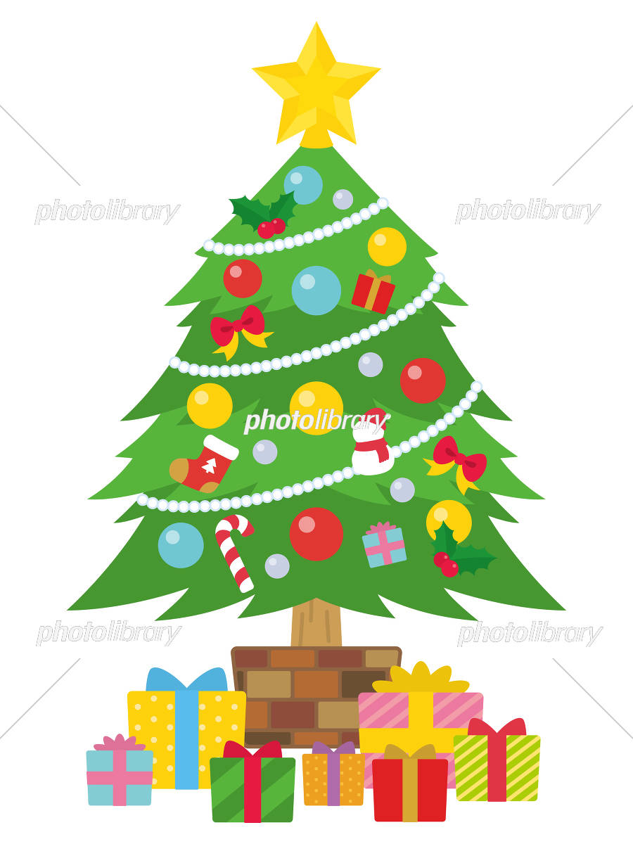 クリスマスツリーとプレゼントボックス イラスト素材 [ 6172447