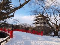 Gejo Bridge and winter of Hirosaki Castle castle tower Stock photo [371606] Winter