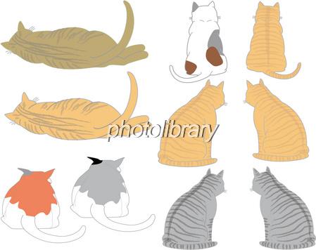 猫の後ろ姿 イラスト素材 377912 フォトライブラリー Photolibrary
