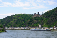 Rhine Valley Sankt Goarshausen and cat Castle Stock photo [530038] European