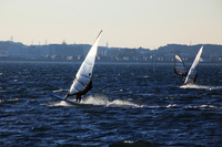 Windsurfing running the Lake Hamana Stock photo [737152] Wind