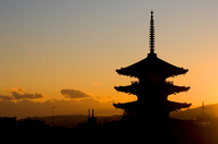 Sunset sky and five-story pagoda Stock photo [812073] Tower