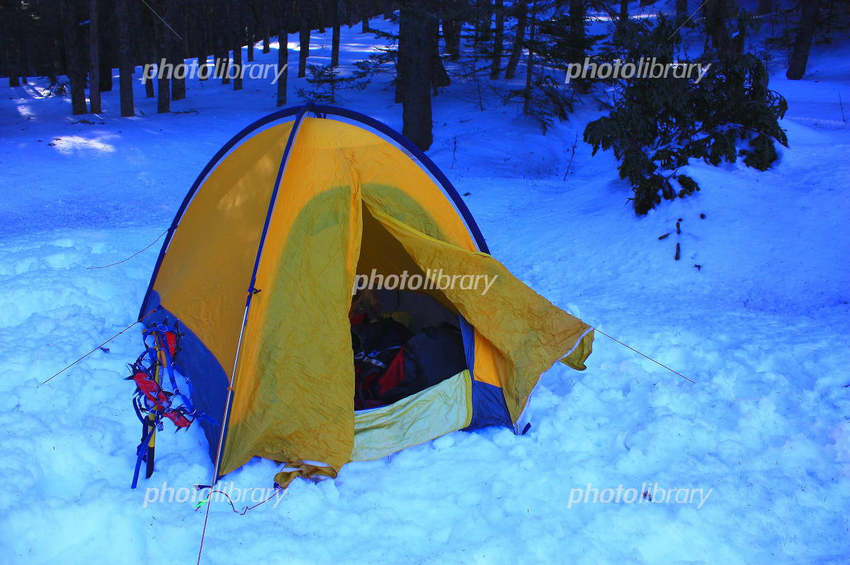 Snowy mountains of tent Photo