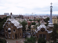 Barcelona City suburb of view from the Guell Park Stock photo [982180] Park