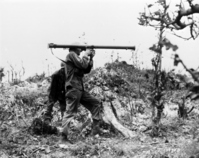 Battle of Okinawa: soldier to set up a bazooka Stock photo [1196618] Battle